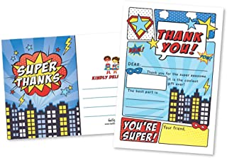 25 Superhero Comic Fill In The Blank Kids Thank You Cards, Hero Bam Pow Themed Girls and Boys Bday Party Note Cards, Unique Adult or Children Birthday, Baby or Bridal Shower Event Supplies and Ideas