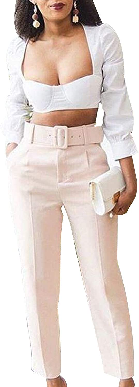 lookwoild Womens Dress Pants with Belt Zip Up High Waist Business Pants Relaxed Fit Straight Leg Pant (White, M)