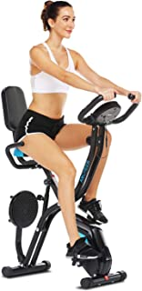 ANCHEER 3 in1 Indoor Exercise Slim Folding Bike, Stationary Cycle Recumbent Bike, Compact Magnetic Upright with App Program&Twister Plate& Heart Monitor - Perfect Home Exercise Machine for Cardio