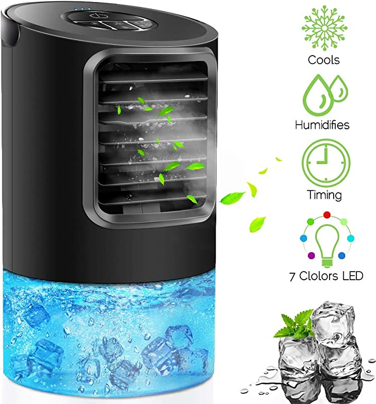 KUUOTE Portable Air Conditioner Fan Personal Space Air Cooler Quiet Desk Fan Mini Evaporative Cooler With 7 Colors Night Light Air Circulator Humidifier Misting Fan For Home Office Bedroom Black
