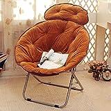 Silla Plegables Lazy Radar Chair Almuerzo Descanso Plegable Silla de Respaldo Sol Moon Chair Sunset Sofa (Color : Marrón)