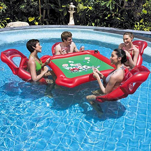 Opblaasbare stoel met zwevende tafel, zwevende zwemstoel, inclusief 4 afzonderlijke zwevende stoelen, 1 tafel, waterdichte spelchips, waterdichte speelkaarten