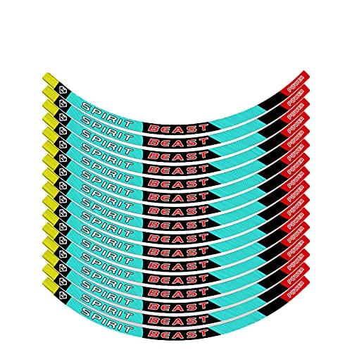 Pegatinas de Tiras de Ruedas,Pegatinas Llantas Moto 16 Piezas de 10-18 Pulgadas Pegatinas de Tiras de Ruedas Reflectantes Adhesivos para Borde de llanta Juego Completo (Blue,17 Inch Width 1.5CM)