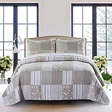 SLPR Silent Reverie 3-Piece Lightweight Printed Quilt Set (Queen) | with 2 Shams Pre-Washed All-Season Machine Washable Bedspread Coverlet