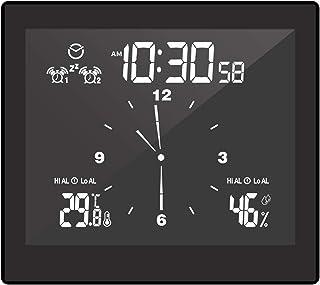 Hometool Thermohygrometer Clock Digital Alarm Clock Indoor Hygrometer Clock with Dual Snooze Alarm Function Desktop & Wal...