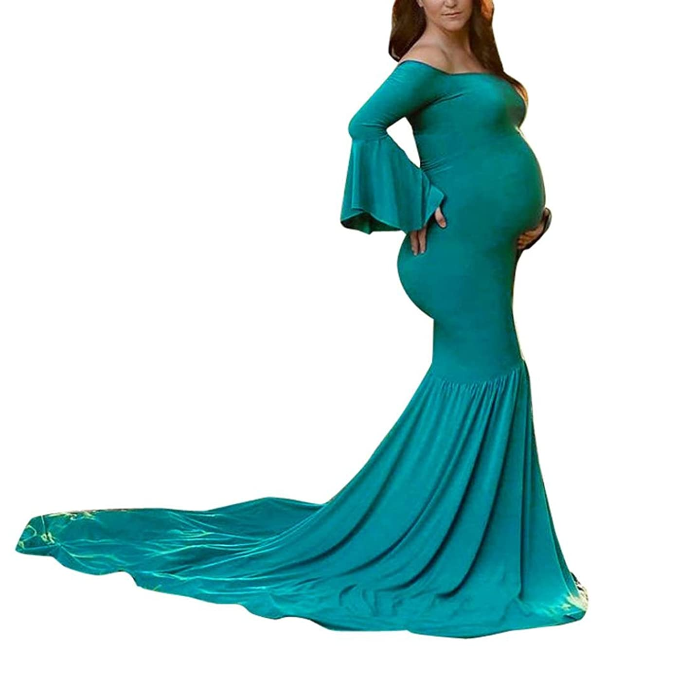 ManxiVoo Pregnant Womens Off Shoulder Dress Sexy Photography Props Flare Sleeve Long Dress Maternity Gown