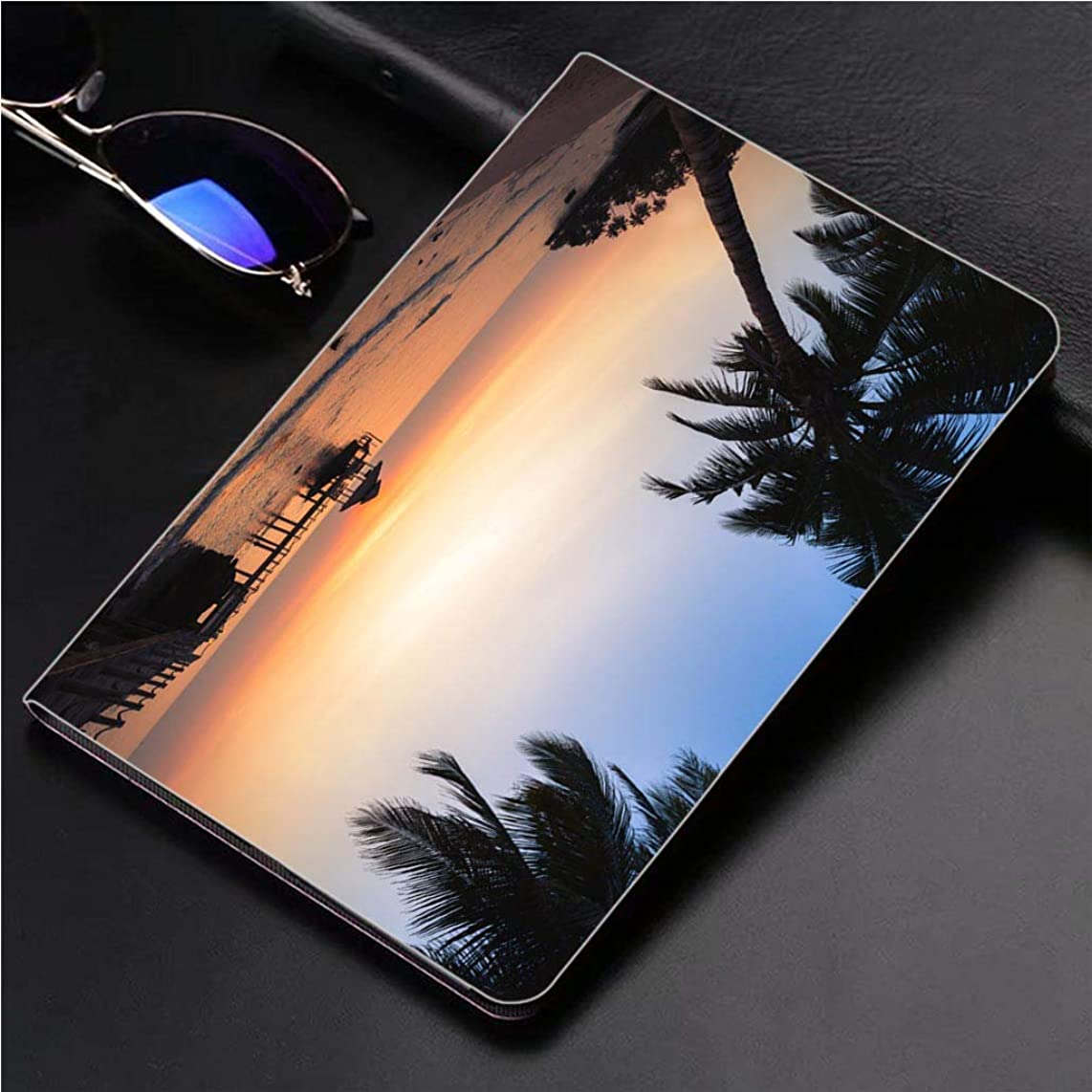 Compatible with 3D Printed iPad Pro 10.5 Case Beautiful Sunset on The Beach 360 Degree Swivel Mount Cover for Automatic Sleep Wake up ipad case