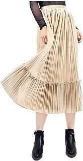Women's Velvet High Waist Accordion Pleated Metallic Long Skirt