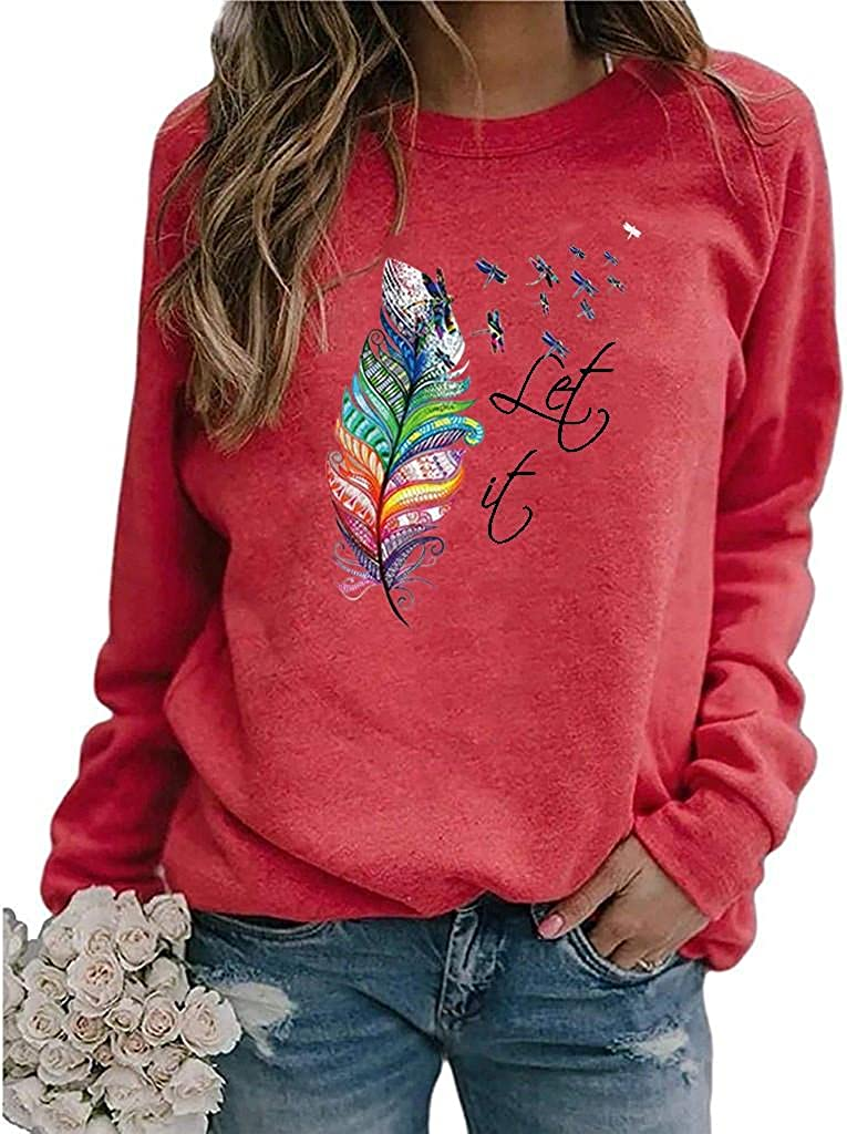 Graphic Sweatshirts for Women,Feather Printed Vintane Casual Long Sleeve Shirts Crewneck Sweaters Tops