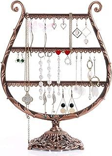 BuceFoleg Earring Storage Rack,harp Shape Jewelry Stand Display Stand - Pendant & Hoop Earrings - Metal with Black Finish-a 13x24.5x32cm