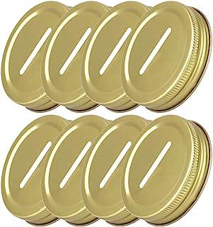 YOOJIA 8PCS 8 Pack Rust Proof Metal Coin Slot Bank Lid for Normal Regular Mouth Mason Jars Money Saving Jars Gold One Size