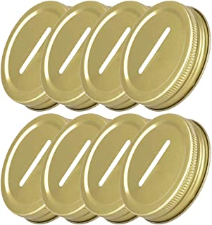 CHICTRY 8 Pcs Coin Slot Bank Lid Inserts Stainless Steel Polished Rust Resistant Mason Ball Canning Jars Lid Change Bill Storage Jars Lid 70mm Inner Diameter Gold One Size