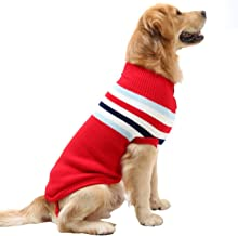 Dora Bridal Dog Sweater,Stripes Knitwear Tutleneck Dog Apparel,Pet Sweatshirt Clothes Dog Wool Classic Warm Soft Sweaters for Cold Weather, Puppy Warm Winter Coat for Small Medium Large Dogs