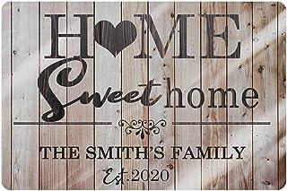 "MyPhotoSwimsuits Personalized Name Doormat 24"" X 16"" Indoor Outdoor with Sweet Home Text Entrance Door Mat Rug Decor Custom"