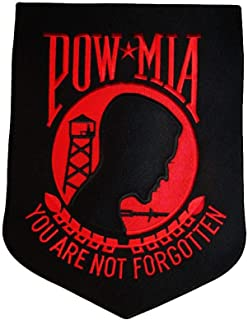 ALBATROS POW MIA Powmia Prisoner 9ftx12ft Black with Red (6 Pack) Iron On Patch for Home and Parades, Official Party, All Weather Indoors Outdoors