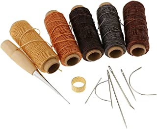 Lovoski 14Pcs Leather Craft Tools with Hand Sewing Needles Drilling Awl Waxed Thread and Thimble for Carpet Canvas Sewing