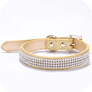 Fenyoung Collars Bling Rhinestone Dog Collars Pet PU Leather Crystal Diamond Puppy Pet Collar and Leashes for Dog Accessorie
