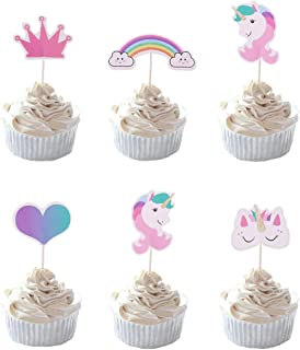 Party Hive 24pc Cute Colorful Princess Heart Unicorn Rainbow Cupcake Toppers for Birthday Party Event Decor