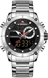 Naviforce Men's Black Dial Stainless Steel Analogue Classic Watch - NF9163-SB