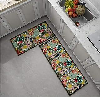 قطعتان من سجادة المطبخ سجادة حمام مانعة للانزلاق ومدخل باب مقاوم للاهتراء ماكينة قابلة للغسل بنمط صبار 60 * 90 + 60 * 180 سم