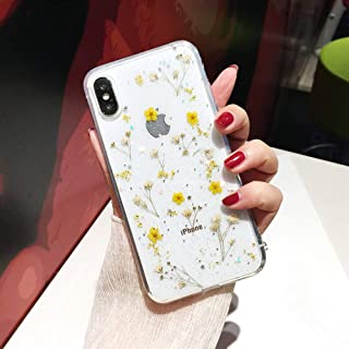 iPhone 6/6S Flower Case, Shinymore Soft Clear Flexible Rubber Pressed Dry Real Flowers Case Girls Glitter Floral Cover for iPhone 6S& iPhone 6-Yellow