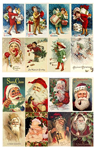 "Decoupage Paper Pack (10sheets A4 / 8""x12"") Vintage Christmas Santa Kids with Gifts FLONZ Vintage Ephemera"