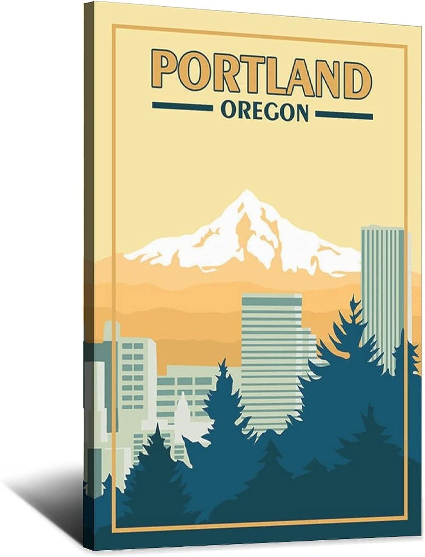ZHBIN Oregon Free Shipping Cheap Bargain Gift Vintage Travel Poster Ar Portland Hood Trust Canvas Mount