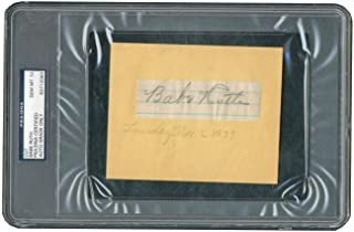 Yankees Babe Ruth Signed 1.2x3.5 Cut Signature Auto Graded Gem 10! Slabbed - PSA/DNA Certified - Baseball Slabbed Autographed Cards