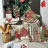 Juego de 4 Fundas Cojines Navidad Decorativos, Muñeco De Nieve Camión Campo Rústico Invierno 45x45 cm Decorativa Hogar Funda de Almohada Cojín para Cama Sofás Sala de Estar Dormitorio Rojo Verde