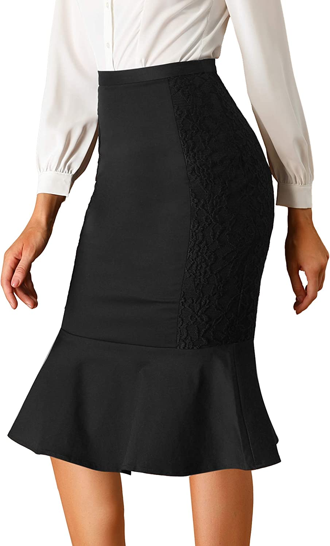 Allegra K Women's Pencil Lace Ruffle Work Office High Waist Skirt