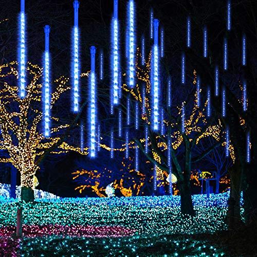 GPODER Meteorschauer Lichter 30CM, 8 Wasserdicht Tubes Meteor Lichterkette, 288 LEDs Lichterkette, Meteorschauer Regen Lichter für Weihnachtsdekoration, Garten, Aussen und Party(Blau)