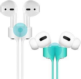 cuauco [2er Pack] Magnetic Adsorption Anti Lost Strap kompatibel für Apple Airpods und Apple Airpods Pro Sport Silikonschützer mit Lanyard für Apple Airpods Drahtloser Kopfhörer (Weiß +Minzgrün)