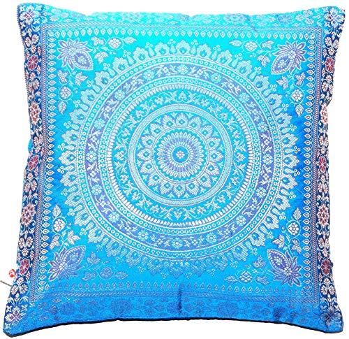 Ruwado Handwoven and Handmade Indian Banarasi Silk Cushion Cover, Decorative Cushion Cover, Sofa Cushion Cover, Decorative Cushion Cover, Mandala Pattern 40 x 40 cm, 16 x 16 inches, Turquoise Blue