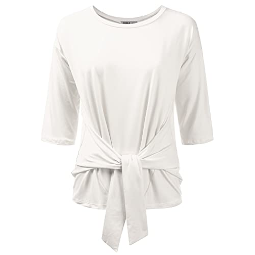 8b6dee1051546 Doublju Womens 3 4 Sleeve Loose Fit Tie-Front Blouse Top with Plus Size