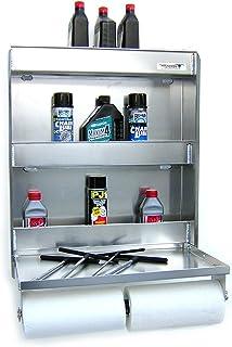 "Pit Posse 445 Senior Storage Cabinet & Work Station Made of Aluminum-Flip Out Work Tray & Spring-Loaded Paper Towel Tensioner - Bike Trailer Shop Garage Accessory - 25"" Lx6 Wx30 H - 5 Year Warranty"