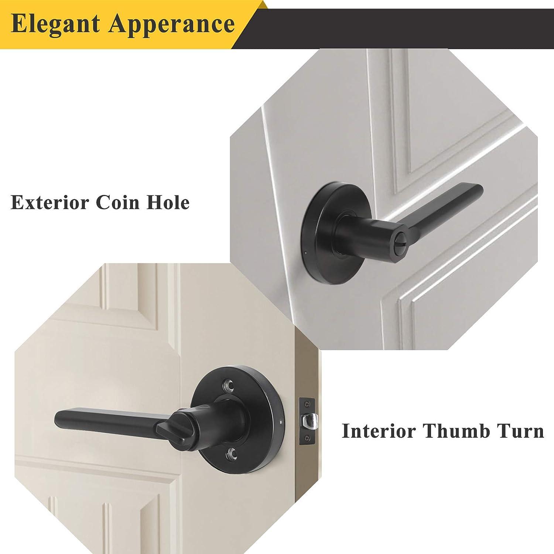 Keyless Door Lock with Exterior Pin Hole for Bedroom Bathroom 1 Pack Probrico Flat Black Privacy Door Knobs Interior Door Handles