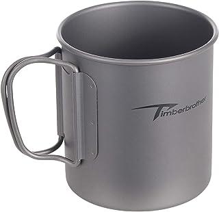 Timberbrother 250ml-900ml Titanium Cup Camping Mug Foldable Handle Titanium Pot with Lid