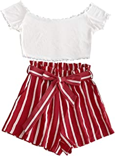 Women's Two Piece Outfit Off Shoulder Crop Top and Striped Shorts Set