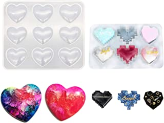 Resin Heart Keychain Resin Molds,Charms 9-Cavity Silicone Heart Mold and Bit Heart Mold, Epoxy UV Resin Molds for Resin Ke...