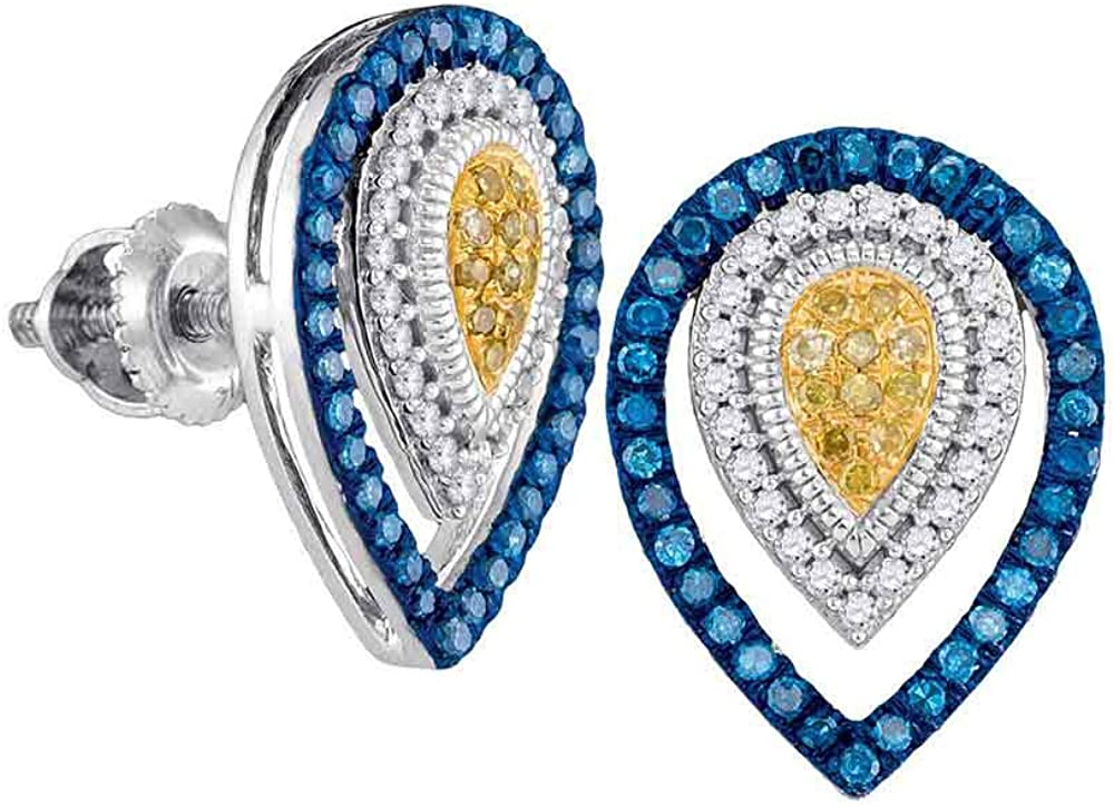 Same day shipping 10kt White Gold Womens Round Diamond Color Ranking TOP6 Blue Enhanced Yellow