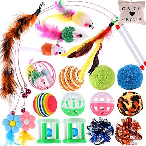 Nabance 20 STK Katzenspielzeug Set Katze Toys Katzen Spielzeug Interaktives Spielzeug mit Federn Variety Spielzeug Set Bälle Kätzchen Maus Spielzeug für Katze Kitty