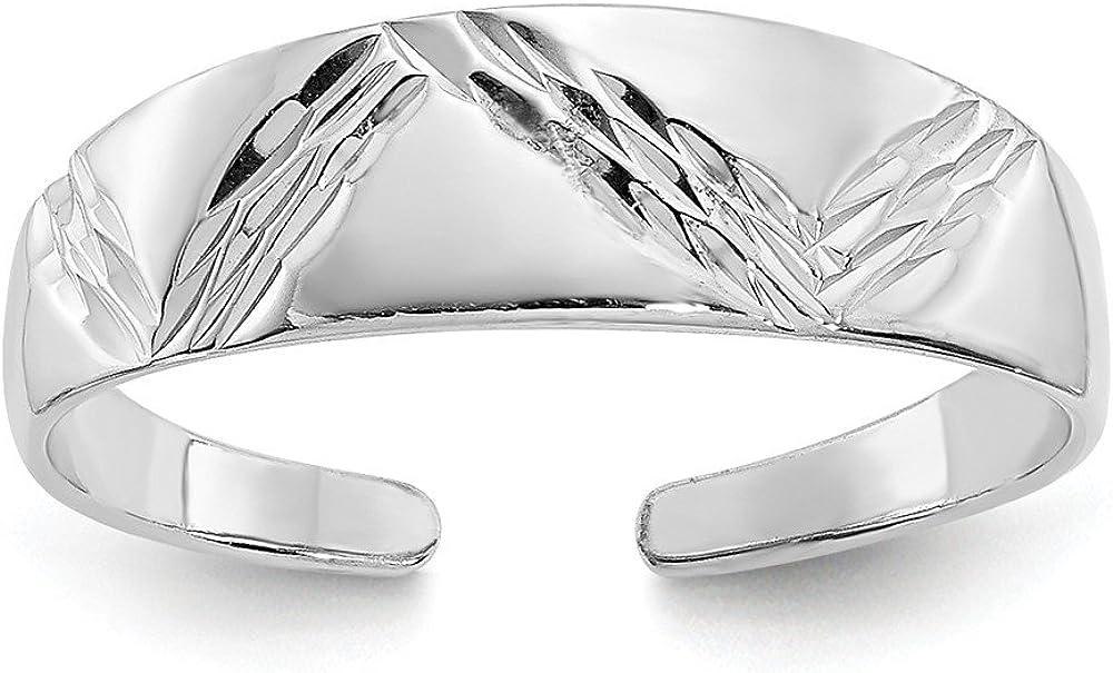 14K White Gold Fancy Pattern Polished Toe Ring