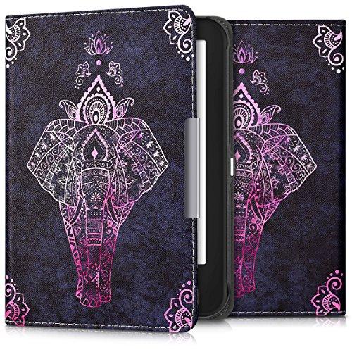 kwmobile Tolino Shine 2 HD Hülle - Kunstleder eReader Schutzhülle Cover Case für Tolino Shine 2 HD - Elefant Zeichnung Design Pink Anthrazit