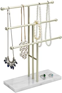MyGift 3-Tier Brass-Tone Metal T-Bar Necklace Display Stand with Marble Base