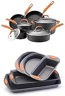 Rachael Ray Hard Anodized II Nonstick Dishwasher Safe 10-Piece Cookware Set (Orange) + 5-Piece Bakeware Set (Orange)