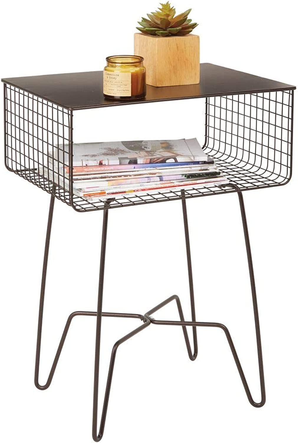 MDesign Modern Farmhouse Side End Table - Solid Metal Design, Open Storage Shelf Basket, Hairpin Legs - Sturdy Vintage, Rustic, Industrial Home Decor Accent Furniture for Living Room, Bedroom - Bronze