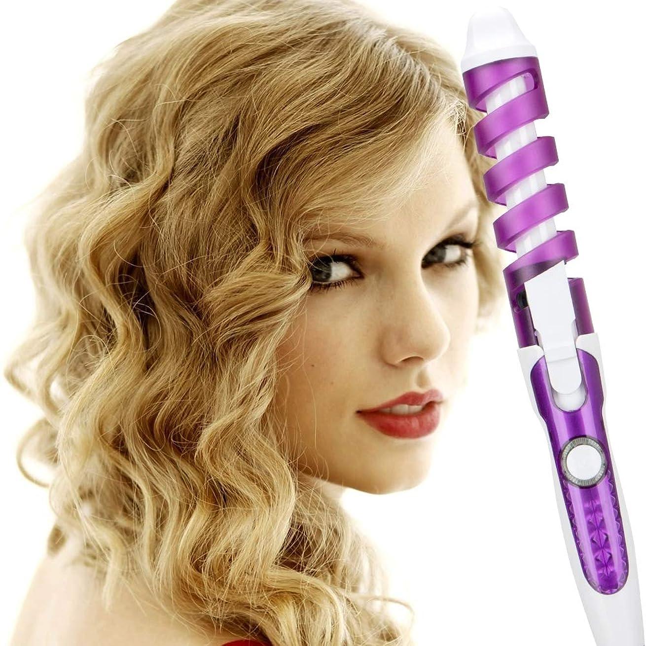 非互換作曲家ルビープロのヘアカーラーマジックスパイラルカーリングアイロン高速加熱カーリングワンド電気ヘアスタイラープロスタイリングツール用女性,Purple