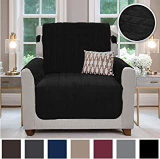 Gorilla Grip Original Velvet Slip Resistant Luxurious Chair Slipcover Protector, Seat Width Up to 23 Inch Patent Pending, 2 Inch Straps, Hook, Armchair Furniture Cover for Pets, Kids, Chair, Black