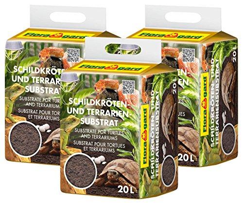 Floragard Schildkrötenerde u. Terrariensubstrat 3 x 20 L, natürliche Einstreu für Reptilien