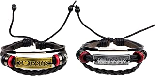 MORE FUN I Love Jesus Leather Bracelet Black Weave Braided Cord Wristband Adjustable Wrap Bangle